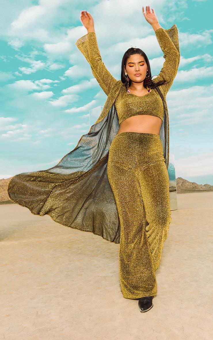 Plus Gold Glitter Kimono