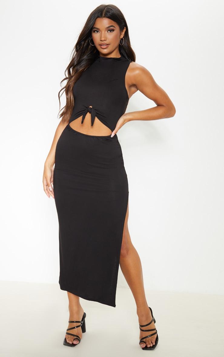 Black High Neck Knot Front Split Maxi Dress 1