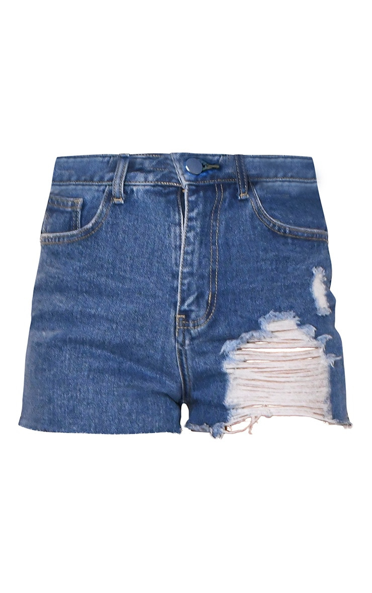 PRETTYLITTLETHING Mid Blue Wash Distressed Denim Mom Shorts 6