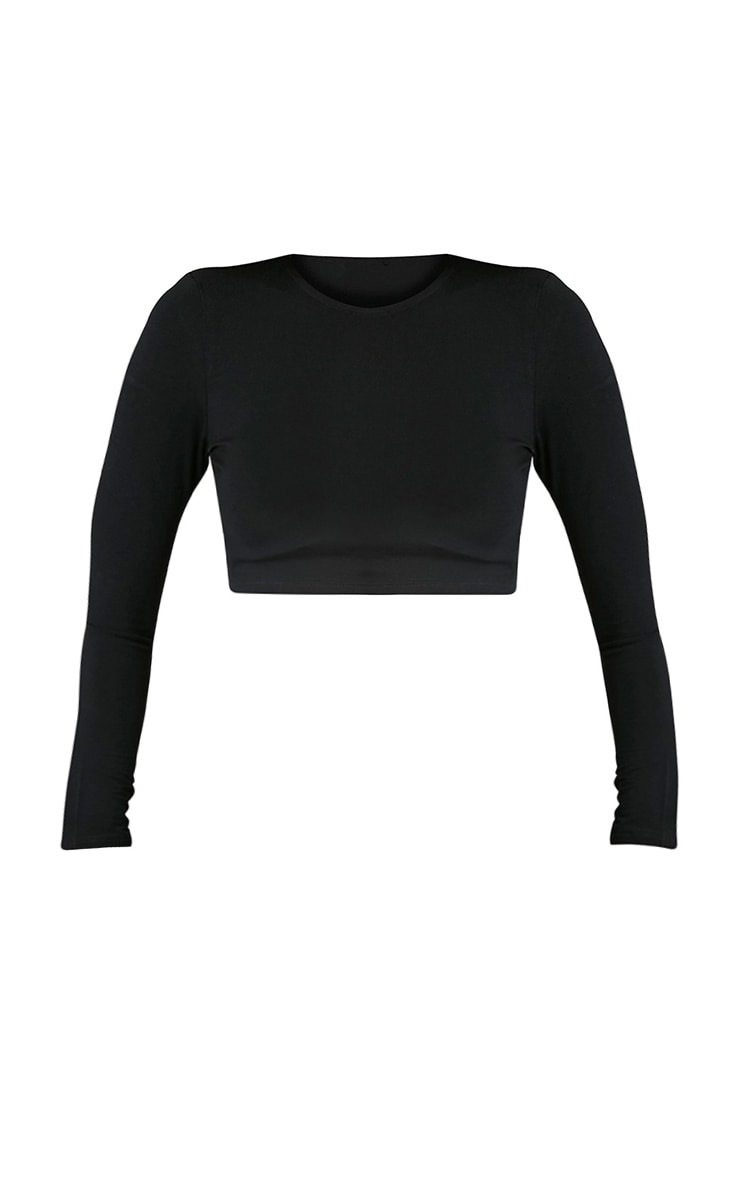 Ali Black Jersey Longsleeve Crop Top 3
