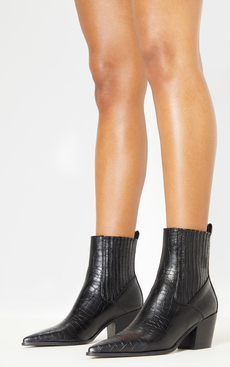 Black Chelsea Western Ankle Boot 2