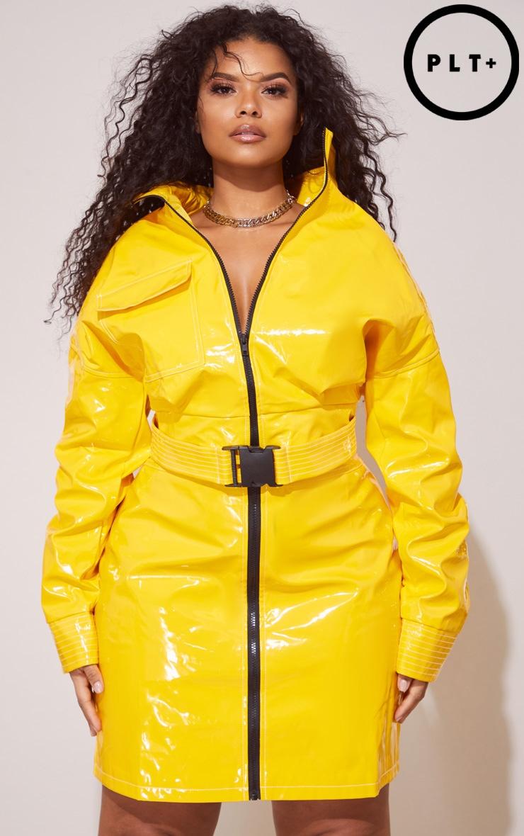 Plus Yellow Vinyl Buckle Detail Crop Jacket 1