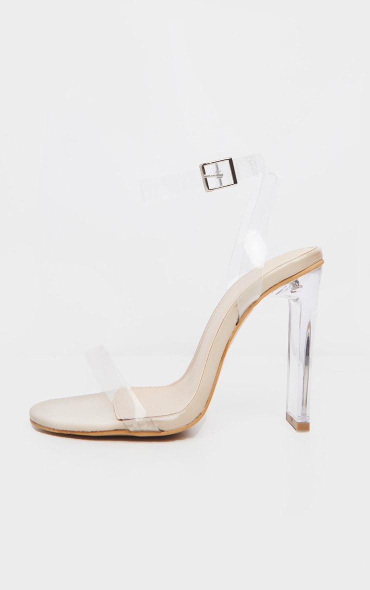 Nude Flat Heel Clear Strap Sandal 3
