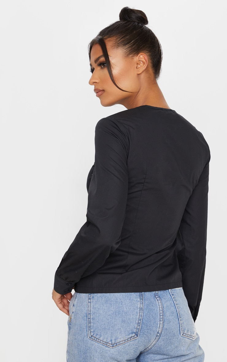 Black Ruched Keyhole Fitted Shirt 2