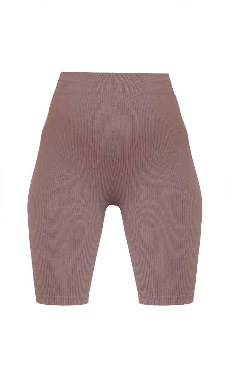 Maternity Mauve Contour Bump Support Ribbed Bike Shorts 6