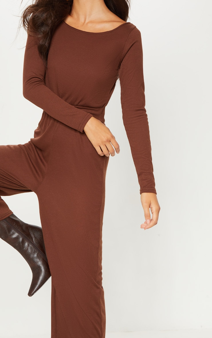 Chocolate Rib Off Shoulder Culotte Jumpsuit 5