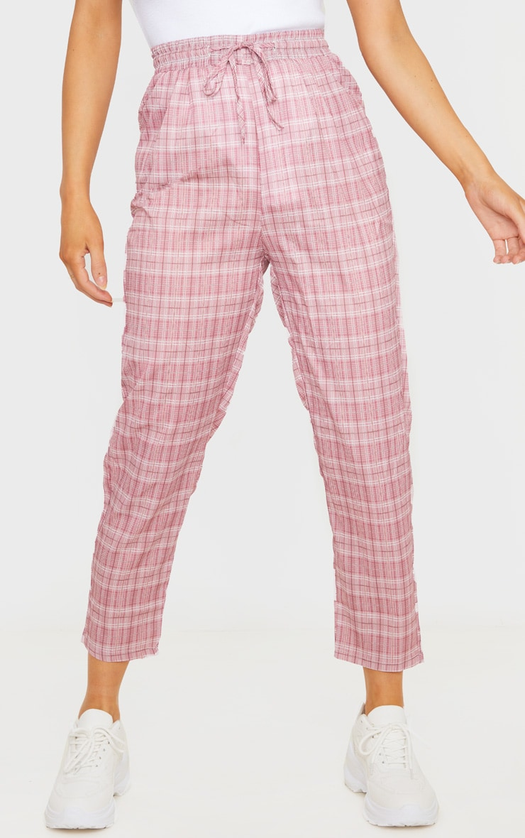 Pink Checked Casual Pants 2