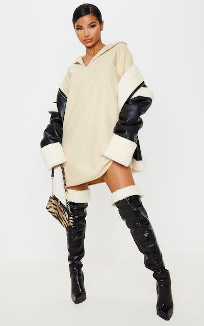 Cream Fleece V Neck Hoodie Jumper Dress