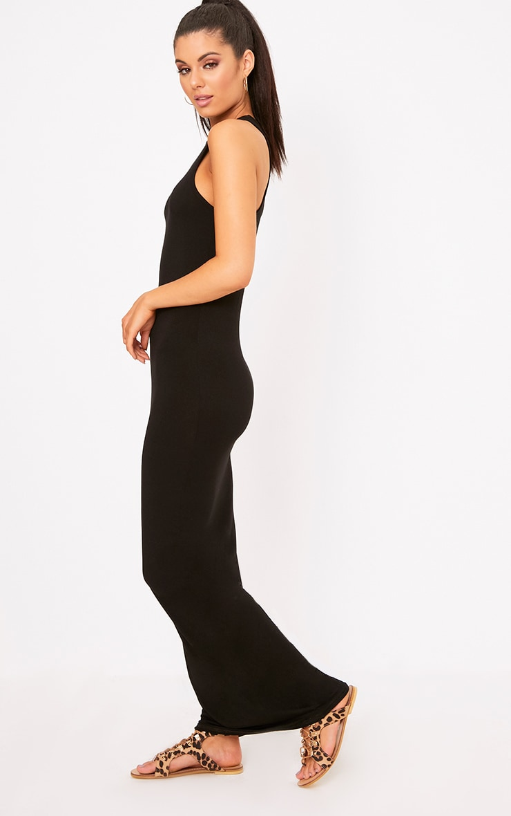 Black Jersey Racer Neck Maxi Dress 4