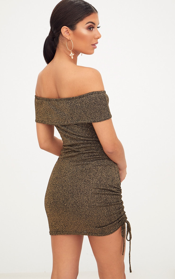 Gold Glitter Ruched Side Bardot Bodycon Dress 2