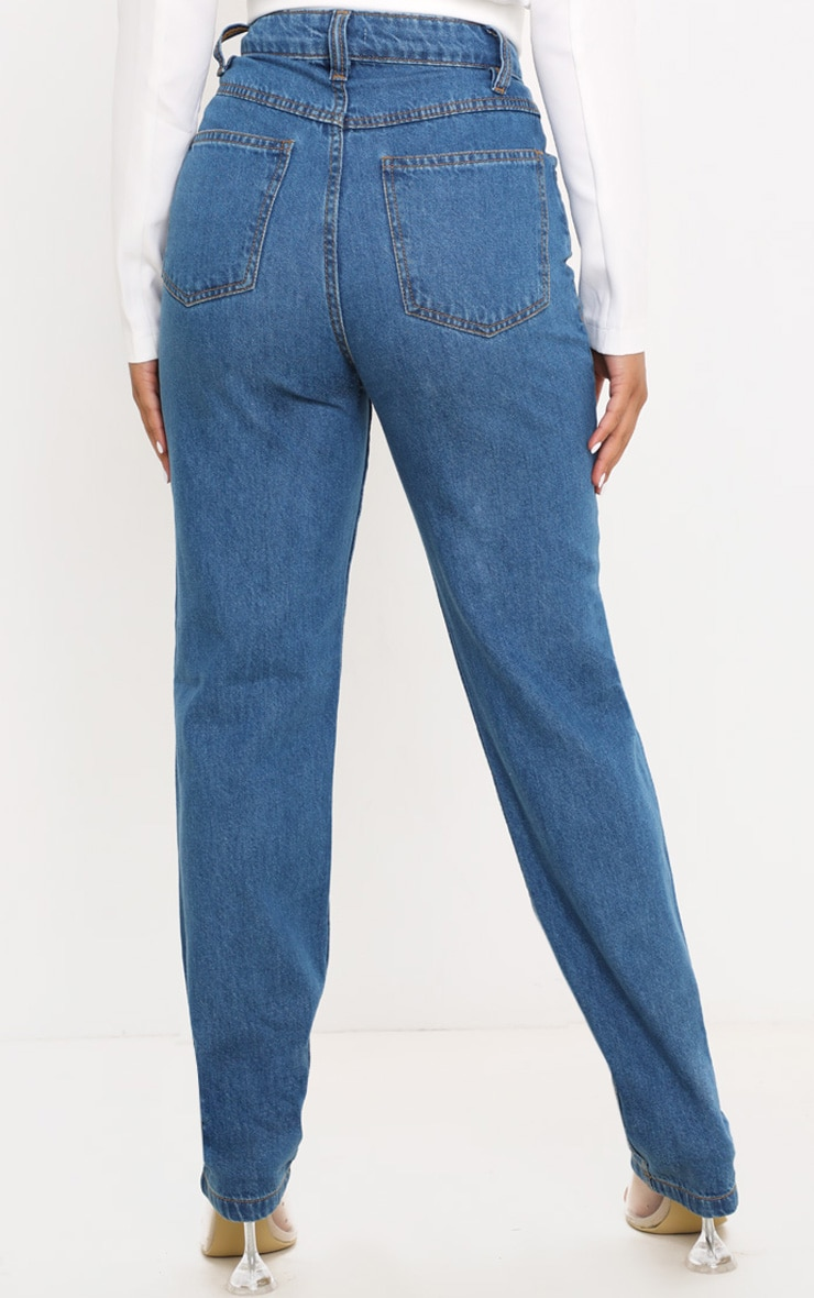 Petite Mid Wash Slim Leg Mom Jean 4