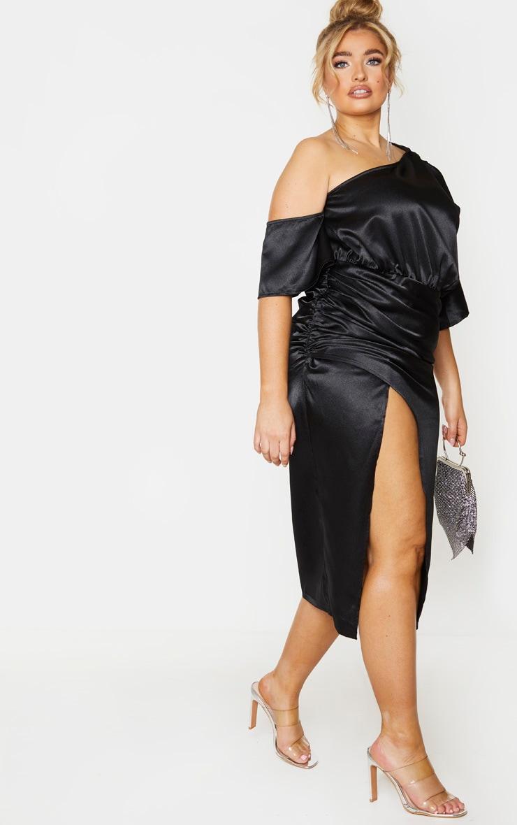 Plus Black Satin One Shoulder Ruched Skirt Midi Dress 3