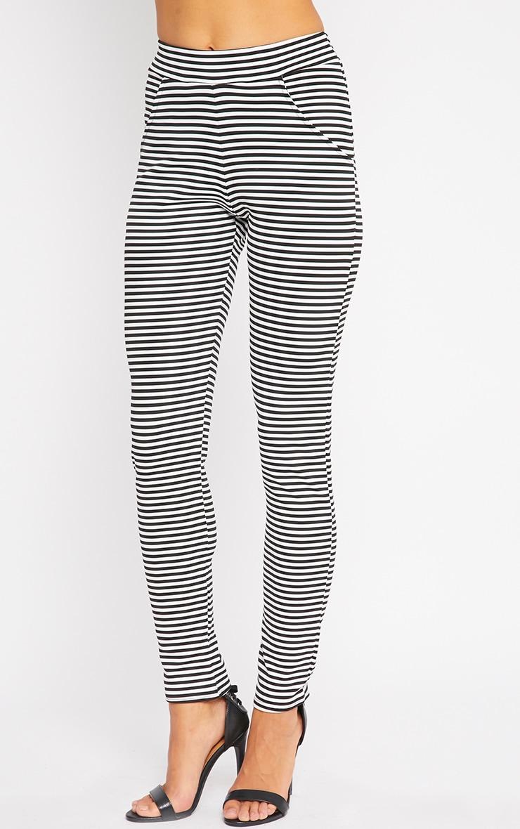 Allegra Monochrome Striped Cigarette Trousers 3