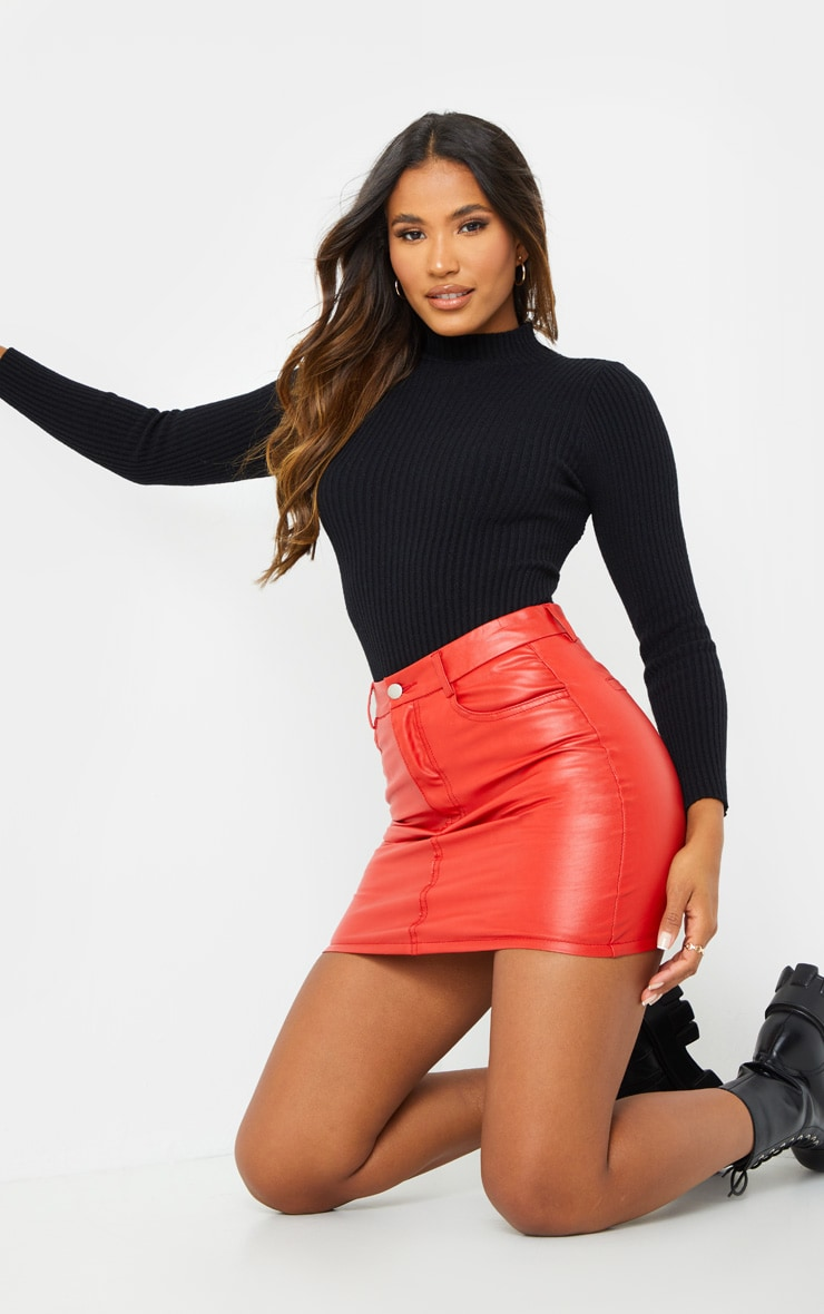 Red Basic Faux Leather Mini Skirt 3