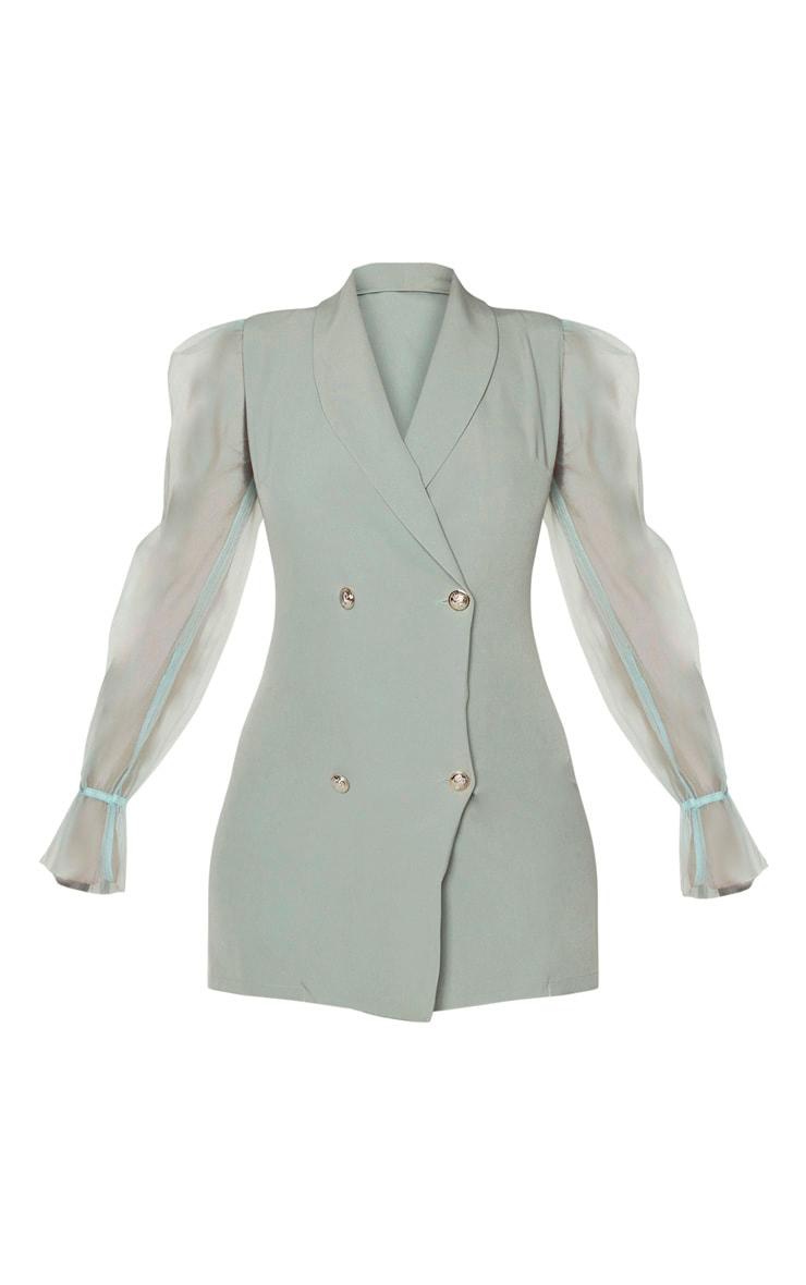 Robe blazer vert sauge à manches en organza et boutons  3