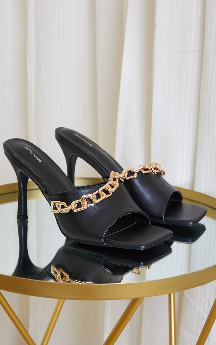 Black PU Chain Detail Mid Heeled Mules 3