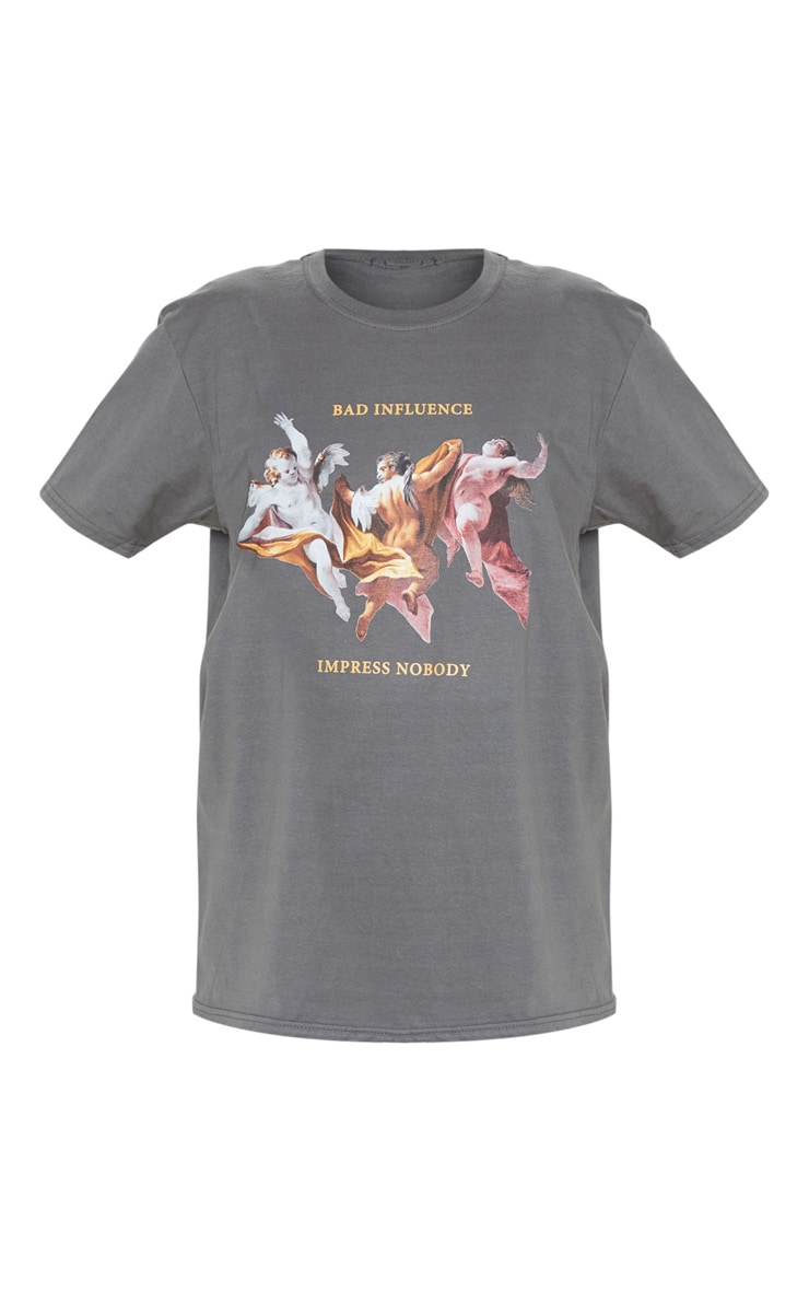Grey Bad Influence Cherub T Shirt 3