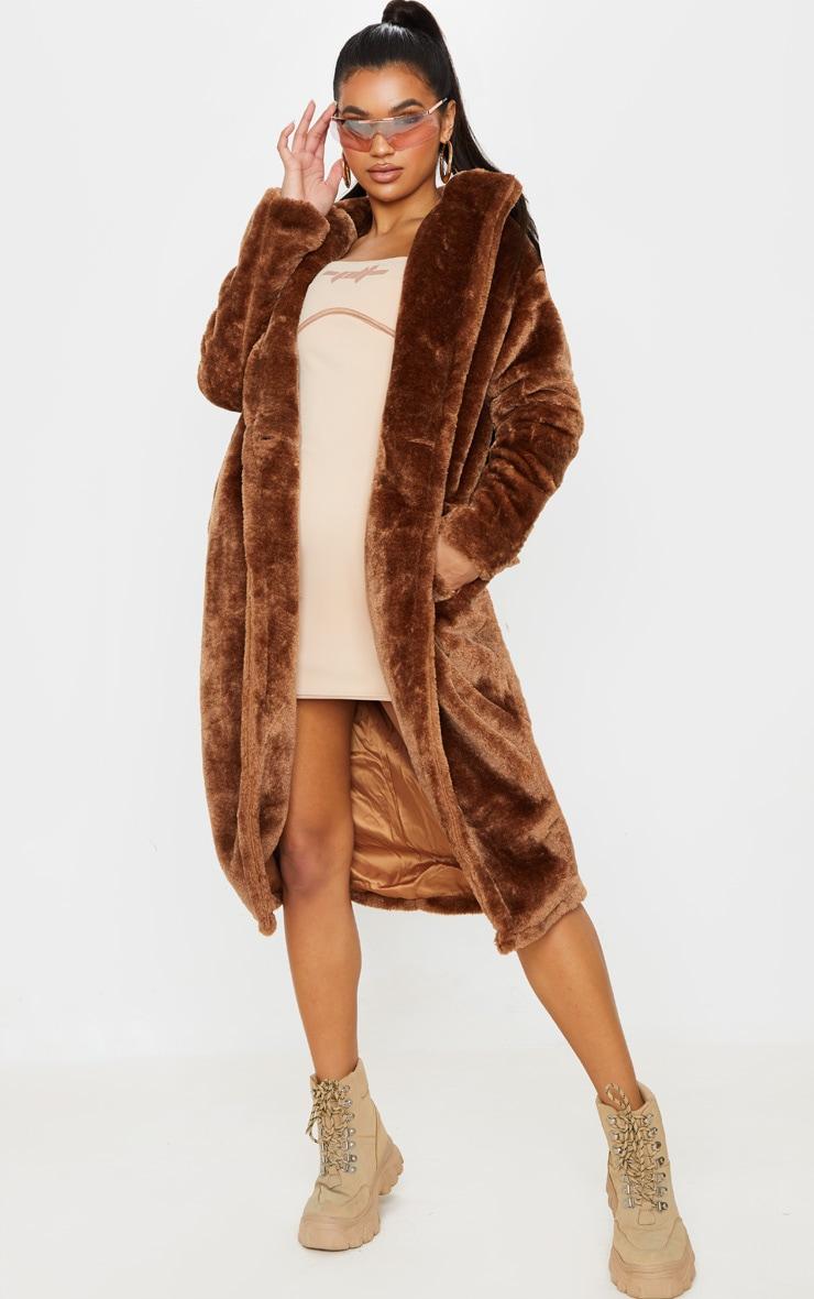 Brown Large Lapel Midaxi Faux Fur Coat 6