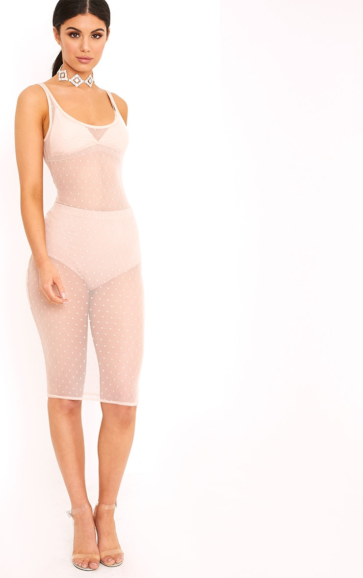 Saffira Nude Sheer Dobby Mesh Midi Dress 4