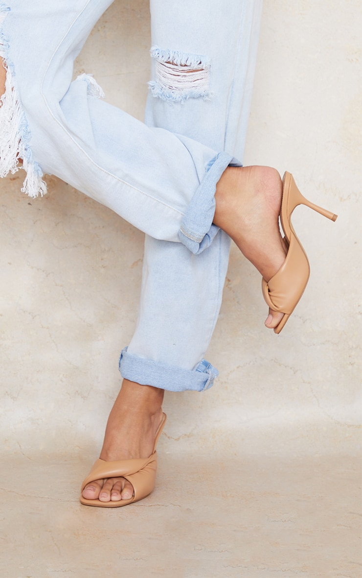 Sand Wide Fit PU Folded Knot Low Heeled Mules 1