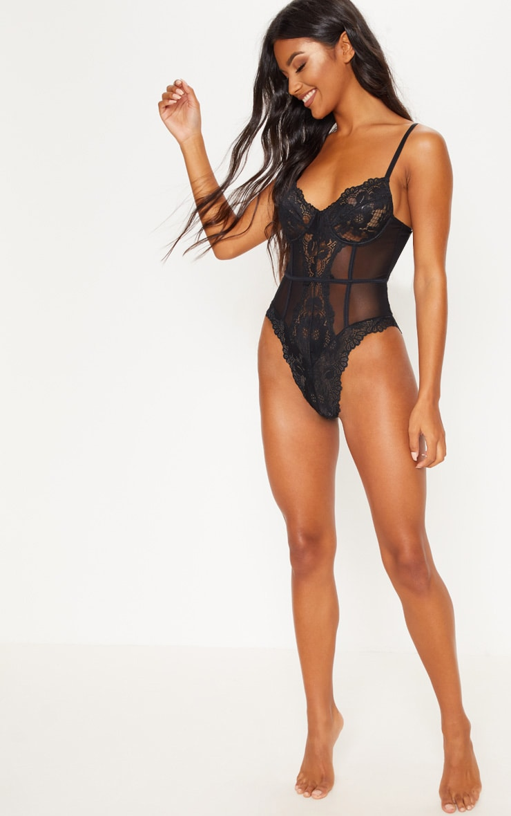 Black Underwired Cage Detail Lace Body 5
