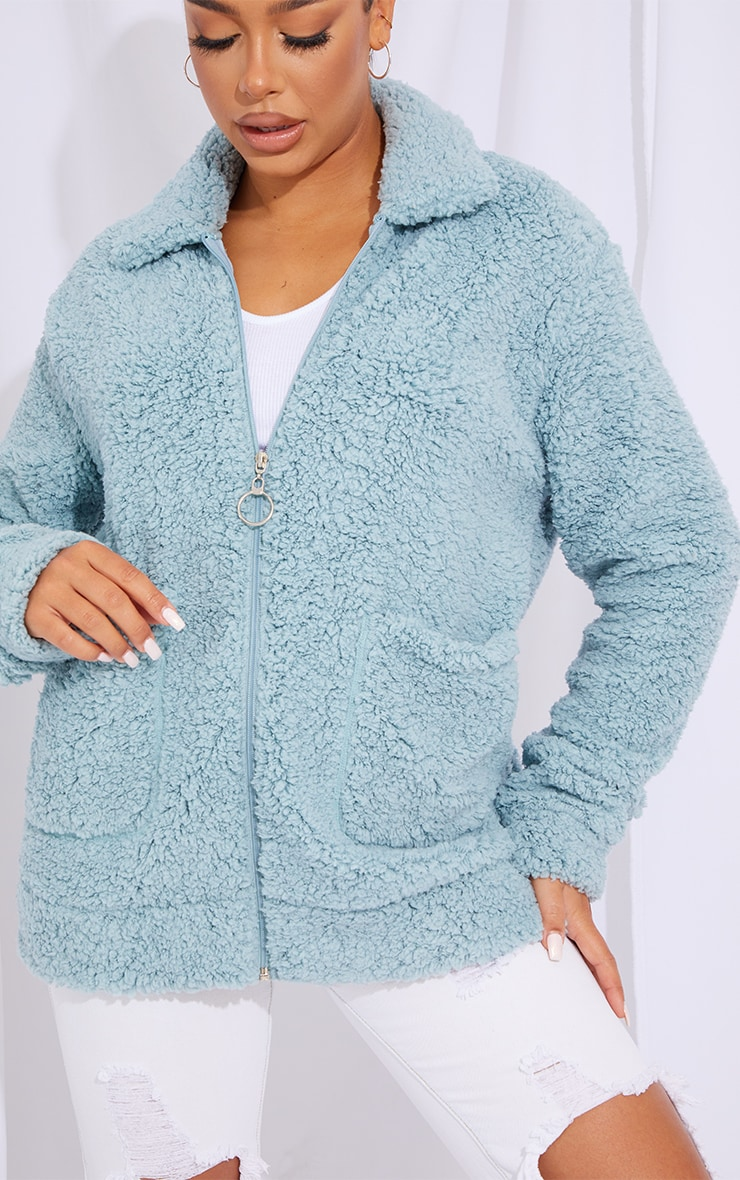 Mint Teddy Pocket Front Oversized Jacket 4