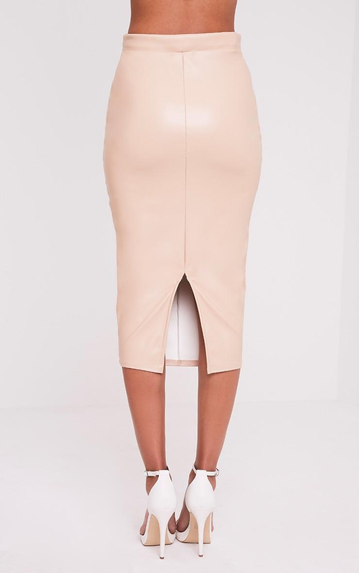 Eva Nude Faux Leather Panel Midi Skirt 5