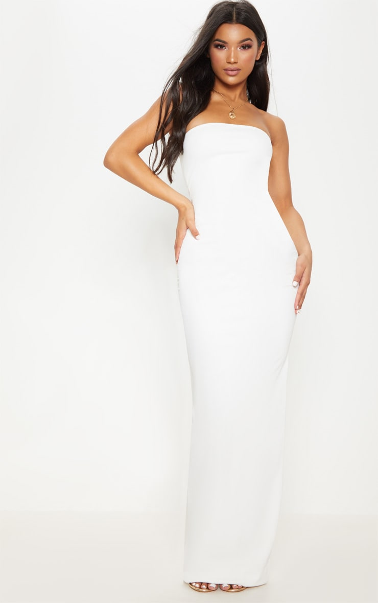 bc8a5c7da262 White Bandeau Bodycon Maxi Dress image 1