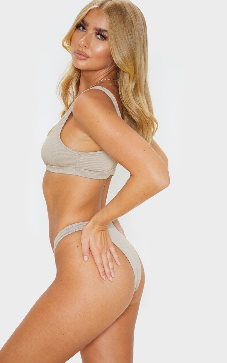 Pale Taupe Ribbed Super High Leg Bikini Bottom 2