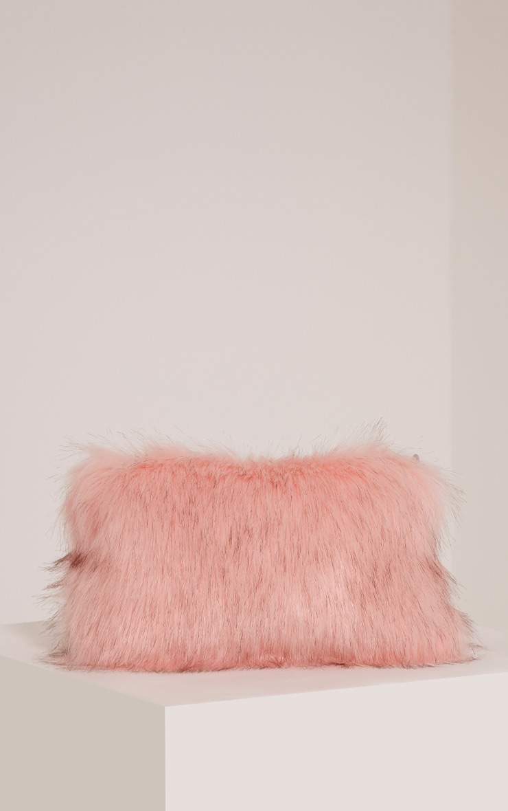 Christah Baby Pink Faux Fur Chain Shoulder Bag 4