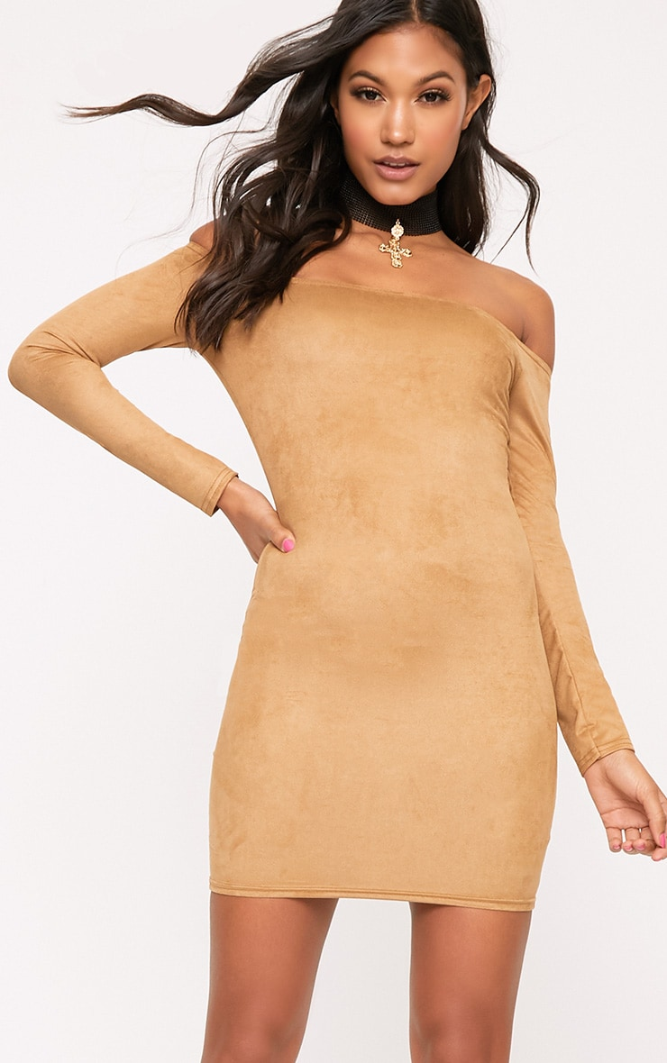 Violla Camel Suede Bardot Long Sleeve Bodycon Dress  1