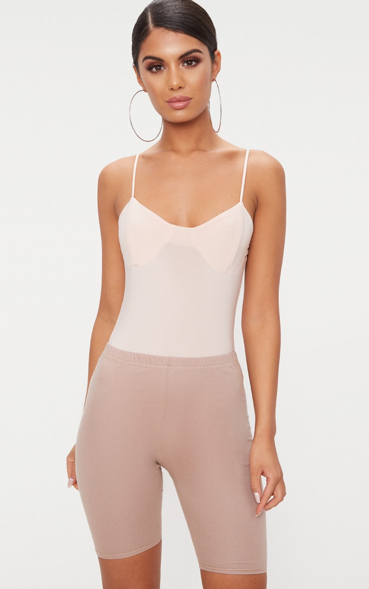 Blush Cup Detail Slinky Thong Bodysuit  1