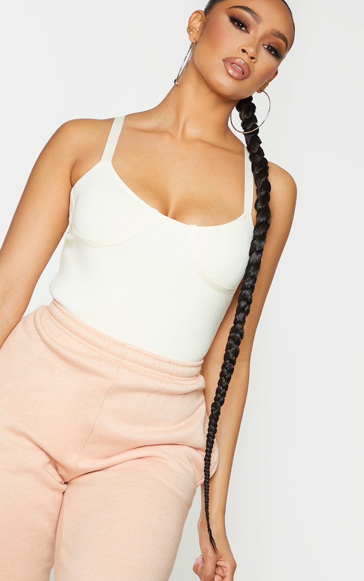Cream Ribbed Bandage Knitted Cup Detail Bodysuit 4