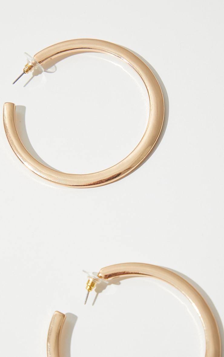 Gold Thick Flat Hoop Earrings 3