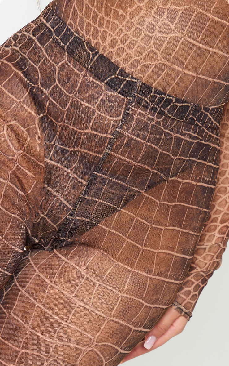 Brown Croc Print Mesh Leggings 4