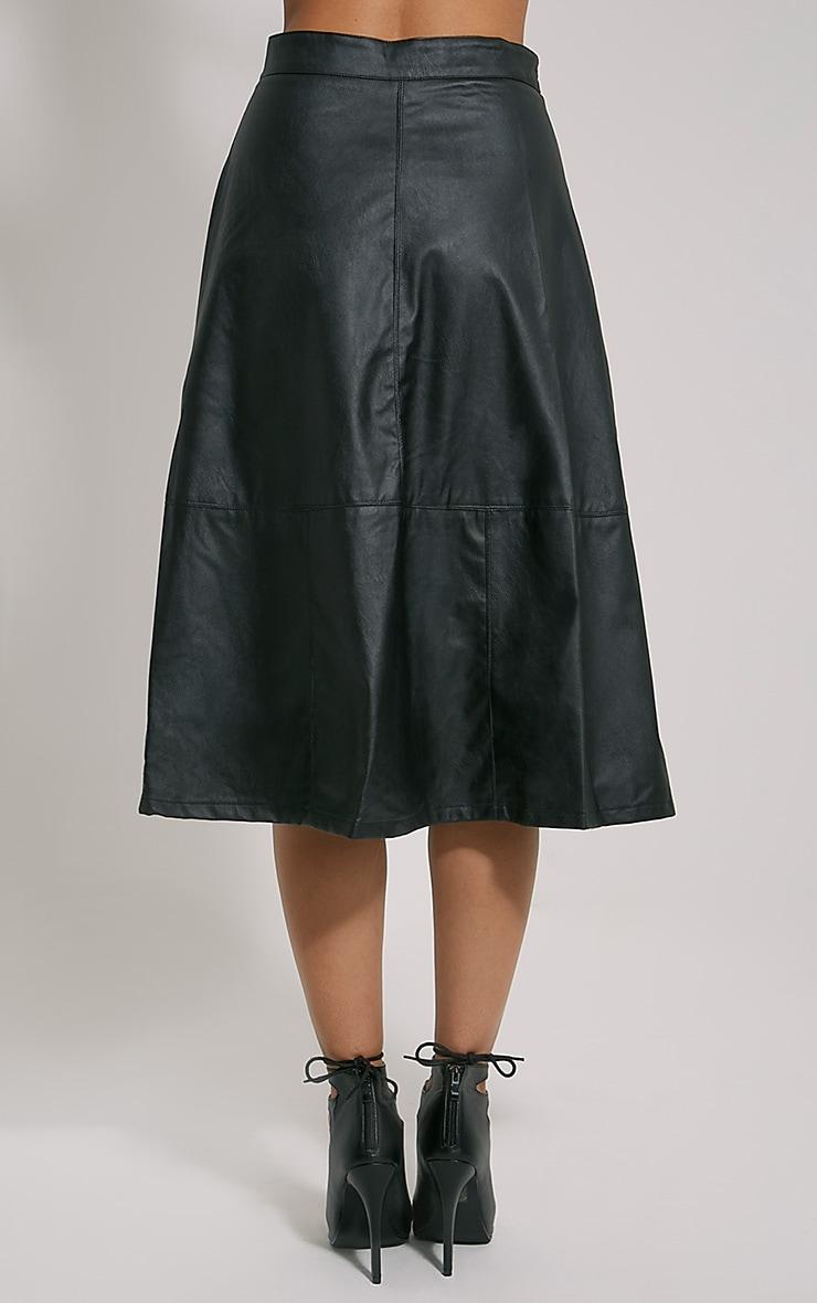 Alison Black Faux Leather A-Line Midi Skirt 4