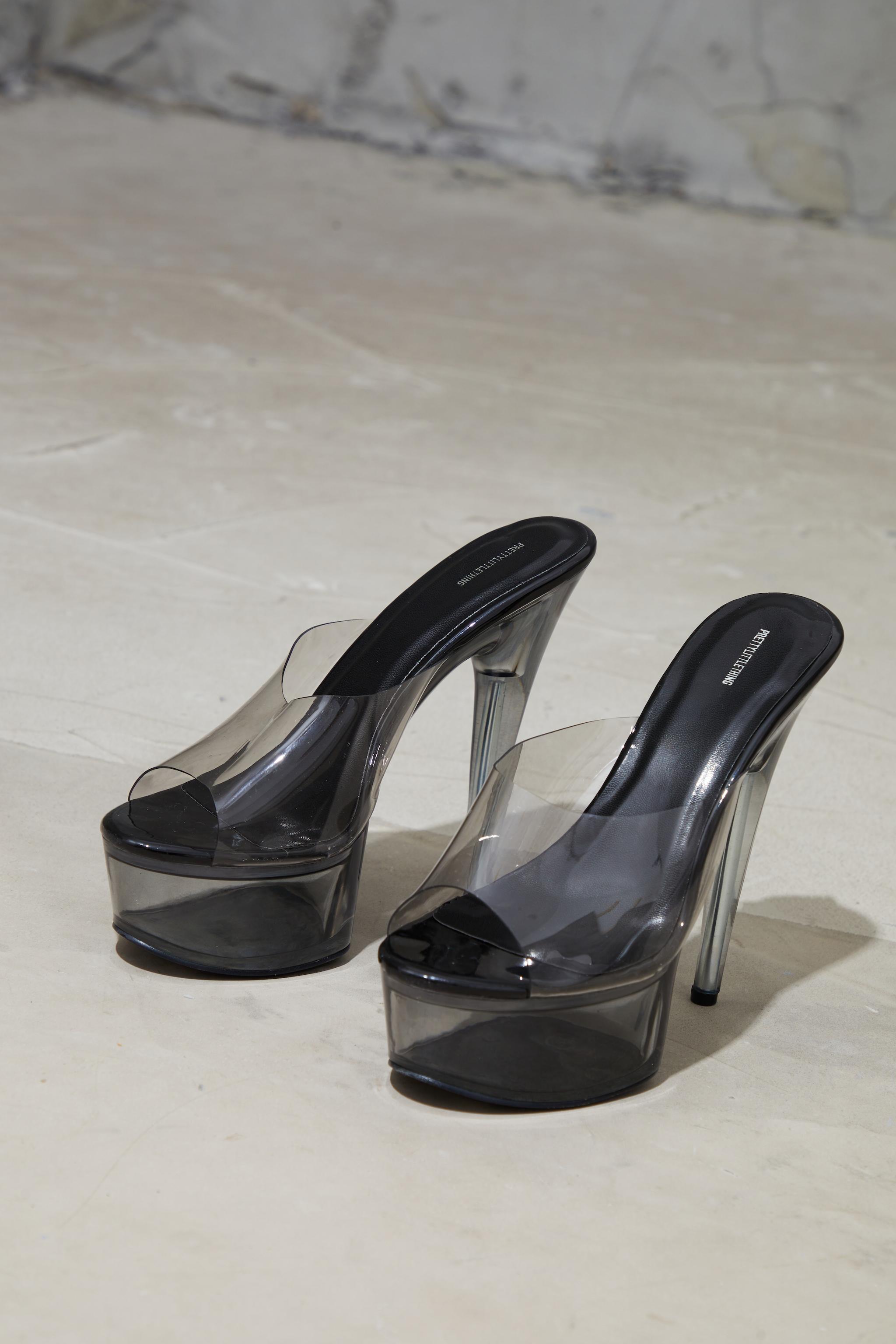 Black Clear Extreme Platform Mule Heels 4