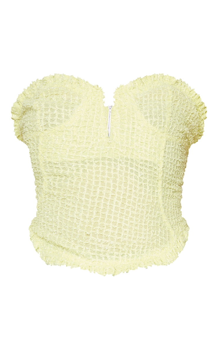 Plus Lime Textured Glitter V Front Cropped Corset 5