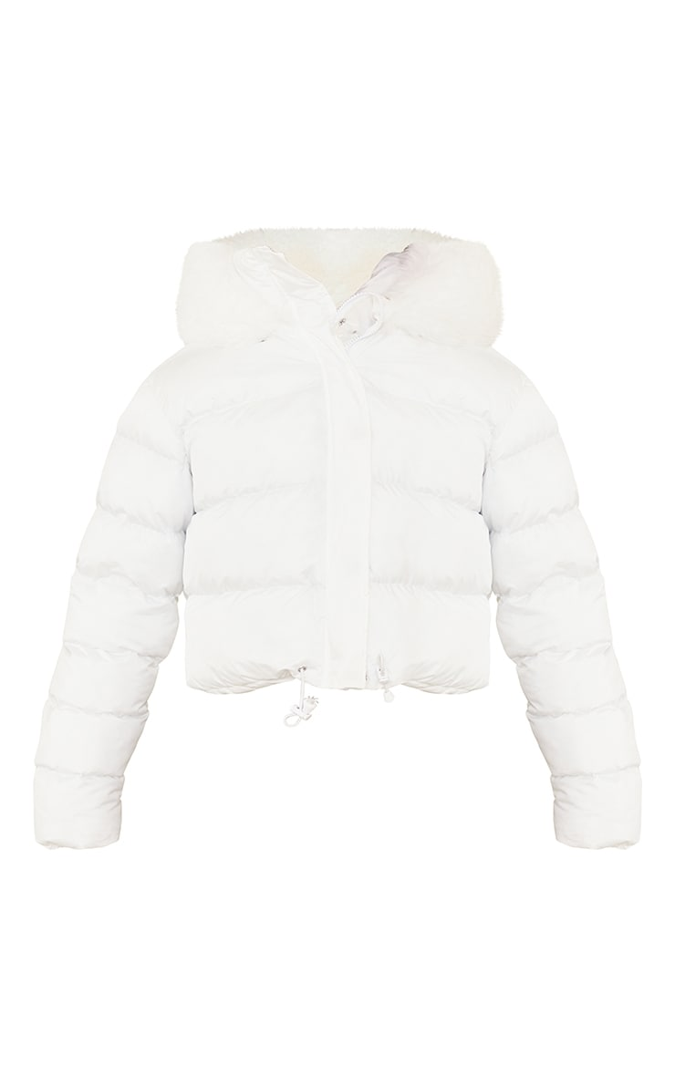 White Faux Fur Hooded Puffer Coat 5