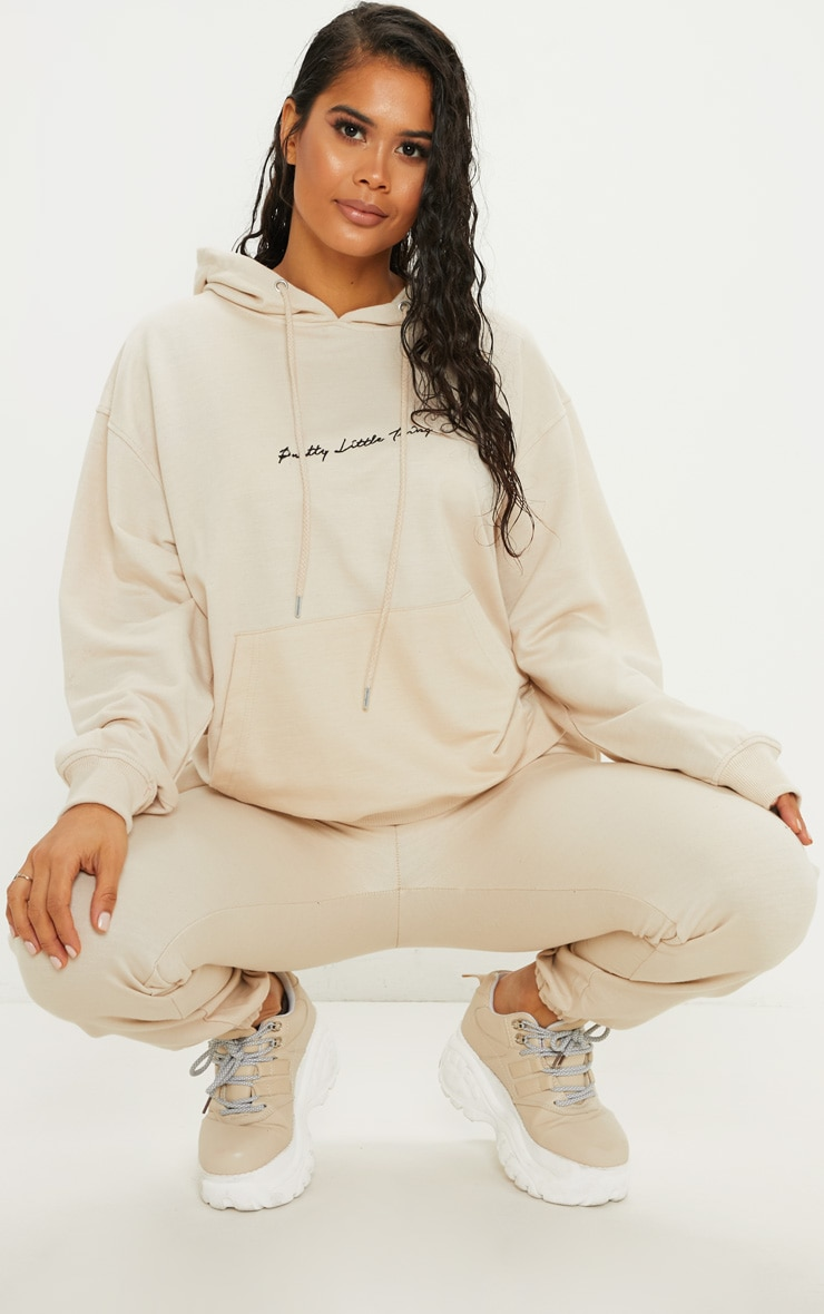 PRETTYLITTLETHING Cream Embroidered Oversized Hoodie 4