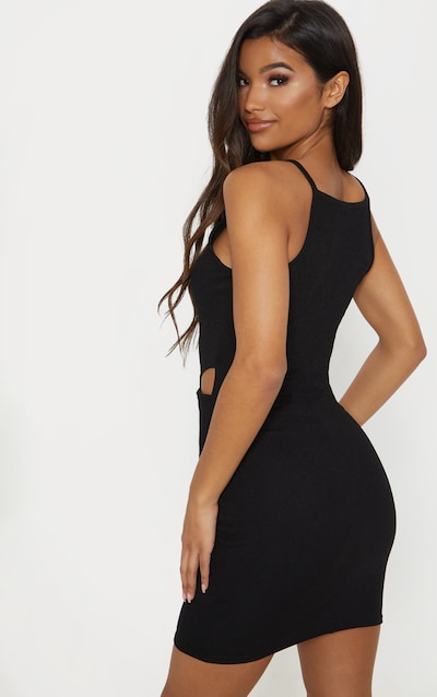 Black High Neck Cut Out Bodycon Dress
