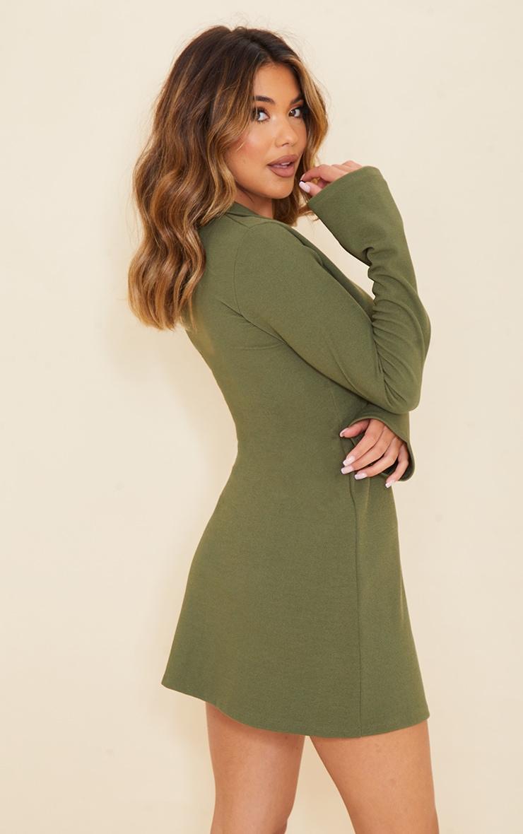 Khaki Rib Polo Collar Long Sleeve Bodycon Dress 2