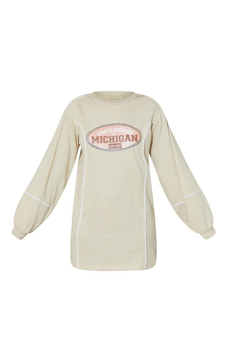 Recycled Stone Michigan Slogan Contrast Binding Sweat Jumper Dress 5
