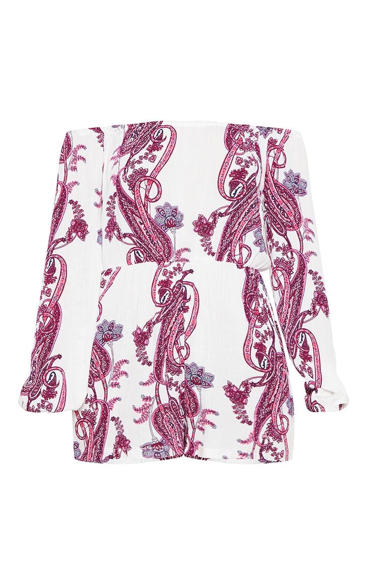 Pink Paisley Print Bardot Romper 3