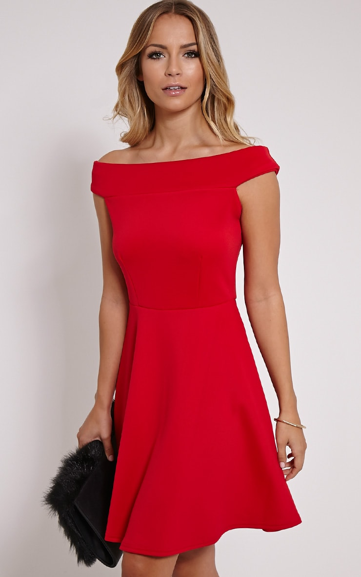 3b475e4f1bc8 Mona Red Bardot Skater Dress image 1