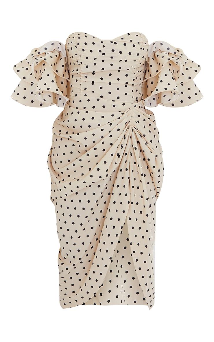 Cream Polka Dot Bardot Frill Sleeve Draped Midi Dress 5
