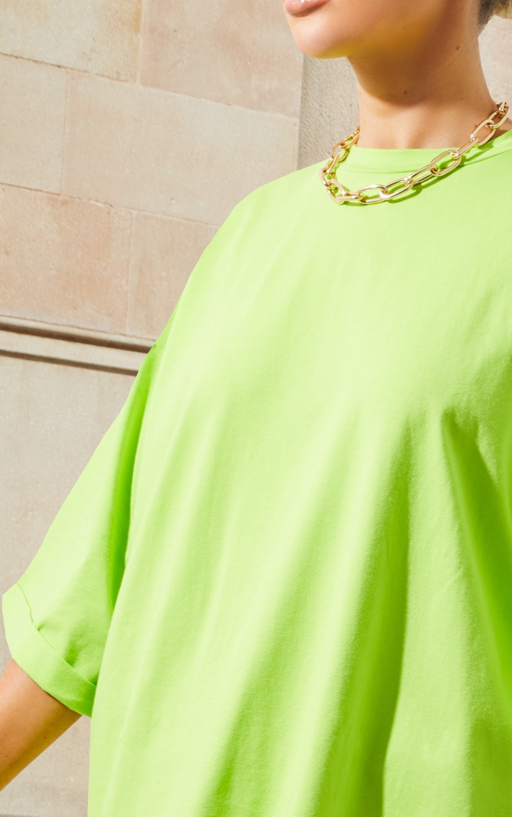 Neon Green I See You Oversized Slogan T Shirt Dress 6