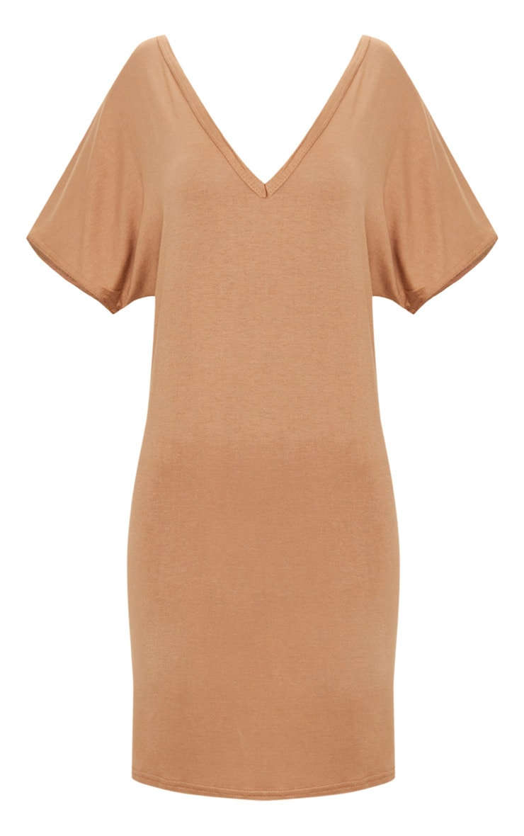 Basic Camel V Neck T Shirt Dress 3