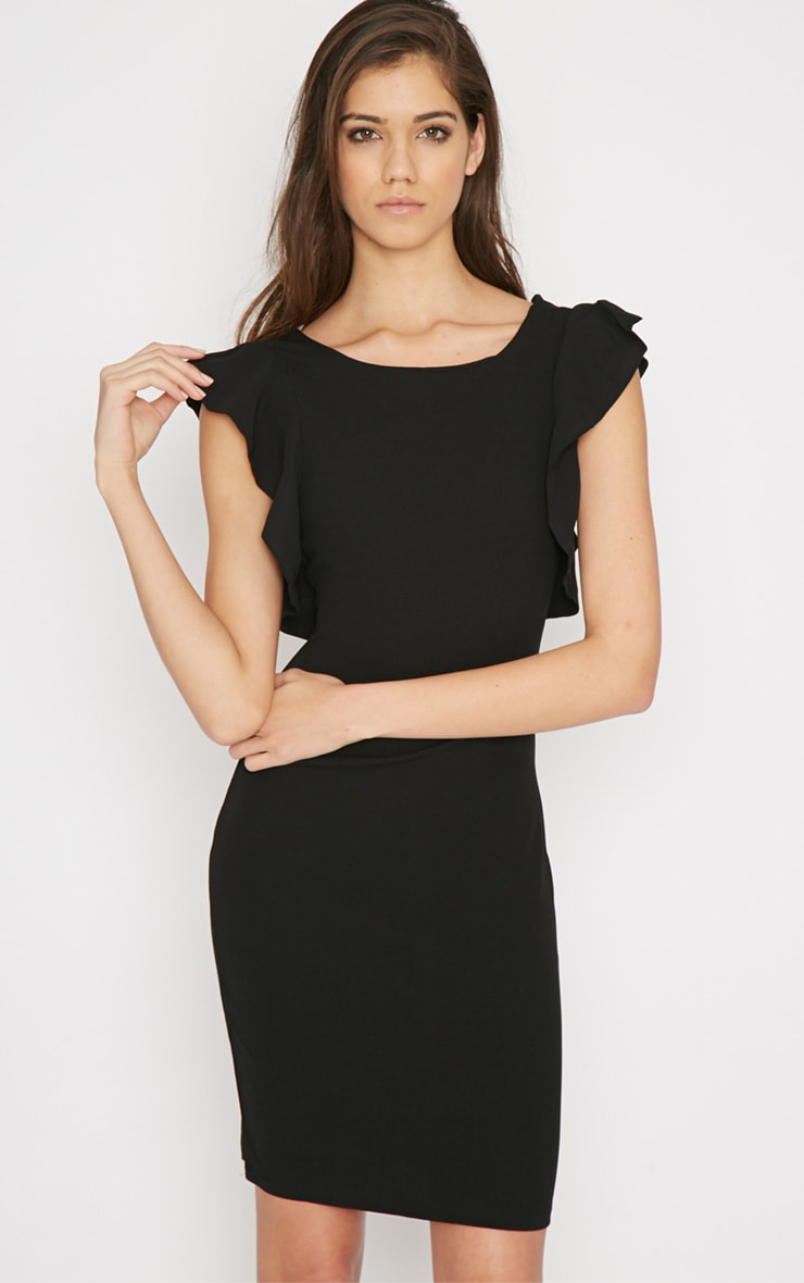 Hazel Black Frill Back Mini Dress 1