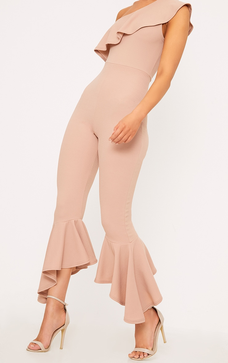 Nude One Shoulder Frill Detail Flared Ankle Jumpsuit 5